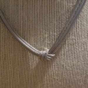 .925 sterling silver 3 strand knott mesh necklace